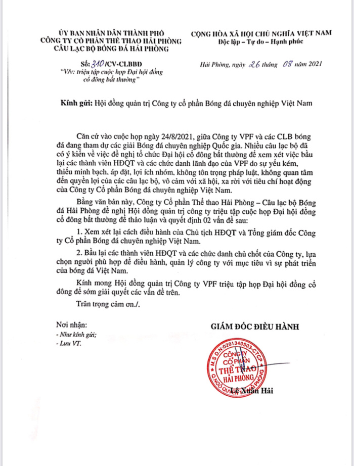 Phê phán VPF, CLB Hải Phòng gửi đơn đề nghị tổ chức Đại hội cổ đông bất thường Ảnh 1