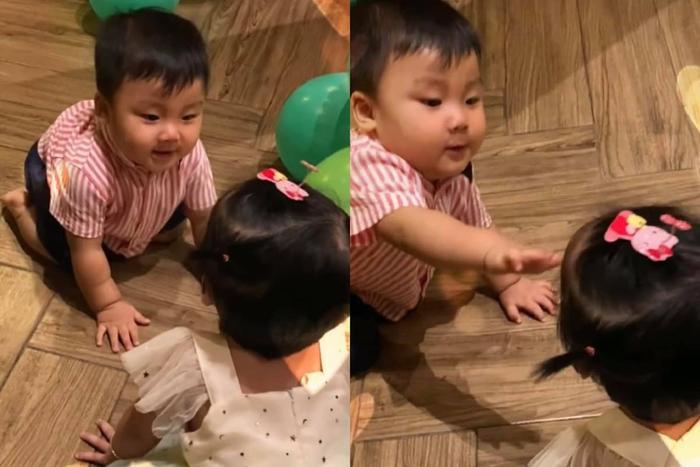 Con trai Hòa Minzy lần đầu gặp con gái Bùi Tiến Dũng, liền có phản ứng bất ngờ