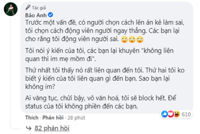 Bảo Anh sâu cay 'đáp trả' anti-fan sau phát ngôn làm từ thiện: 'Tôi vui, vì mấy bạn chửi tôi' Ảnh 4