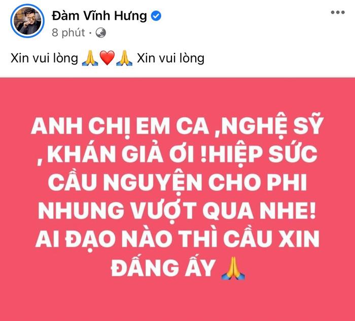 Đàm Vĩnh Hưng và dàn sao Việt 'hiệp lực' cầu nguyện cho Phi Nhung vượt qua bạo bệnh Ảnh 1