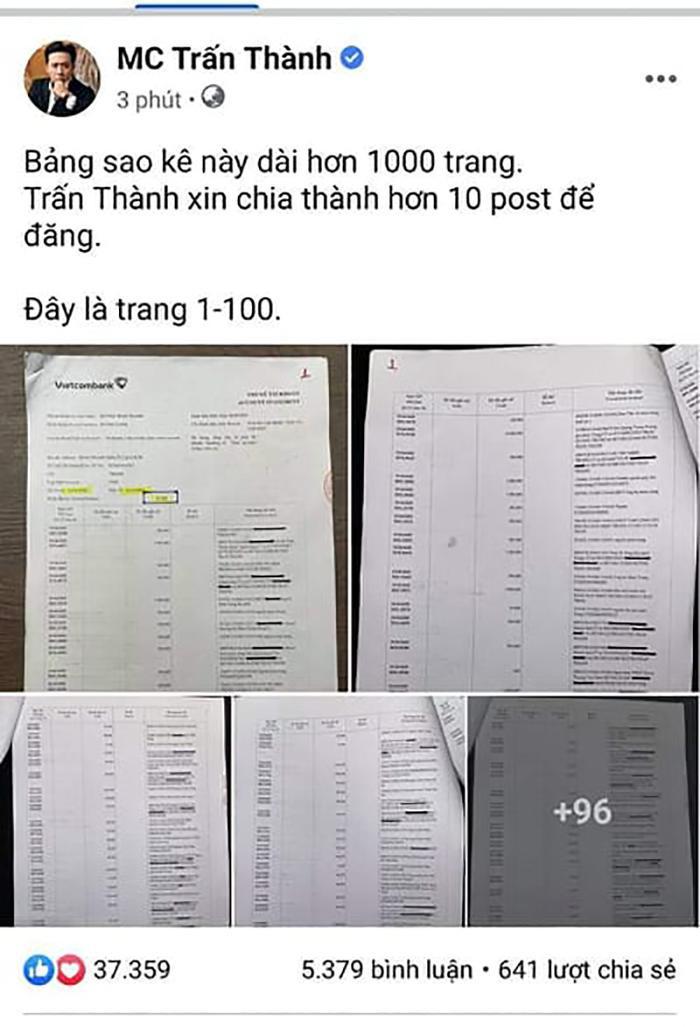 MC Trấn Thành tung bảng sao kê dài 1.000 trang sau loạt ồn ào từ thiện Ảnh 3
