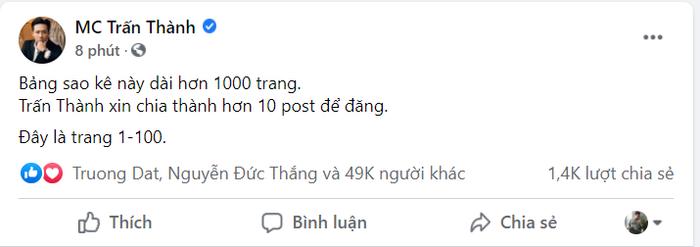MC Trấn Thành tung bảng sao kê dài 1.000 trang sau loạt ồn ào từ thiện Ảnh 2