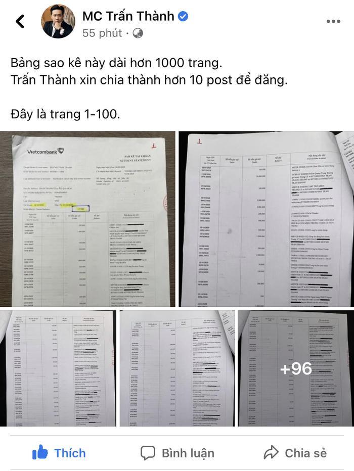 Sao Việt và netizen phải ứng ra sao trước bản sao kê dài 1.000 trang của Trấn Thành? Ảnh 1