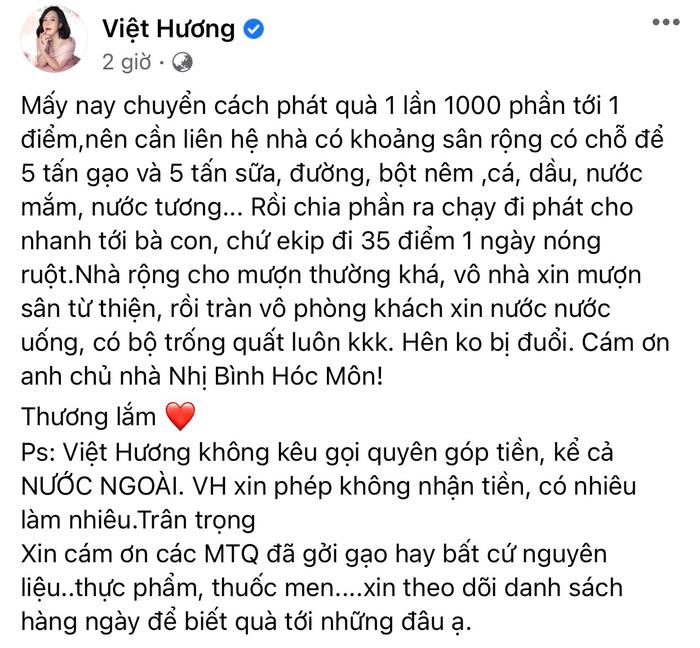Nghệ sĩ Việt Hương minh bạch 'sao kê' hàng ngày: 'Không nhận tiền, có nhiêu làm nhiêu'