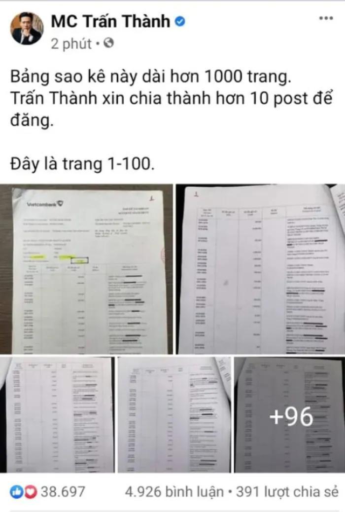 Bất ngờ 'đánh úp' công khai sao kê tiền từ thiện, Trấn Thành chính thức 'vượt mặt' Sơn Tùng ở khoản này