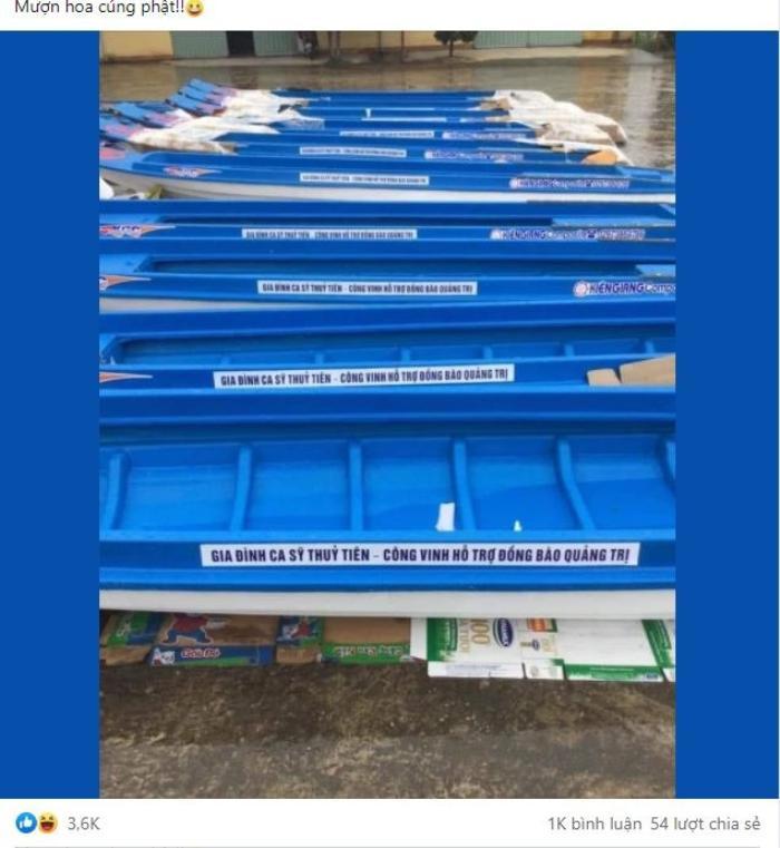 Thực hư việc 10 chiếc thuyền máy cứu trợ lũ lụt để tên riêng của Thủy Tiên và Công Vinh? Ảnh 1
