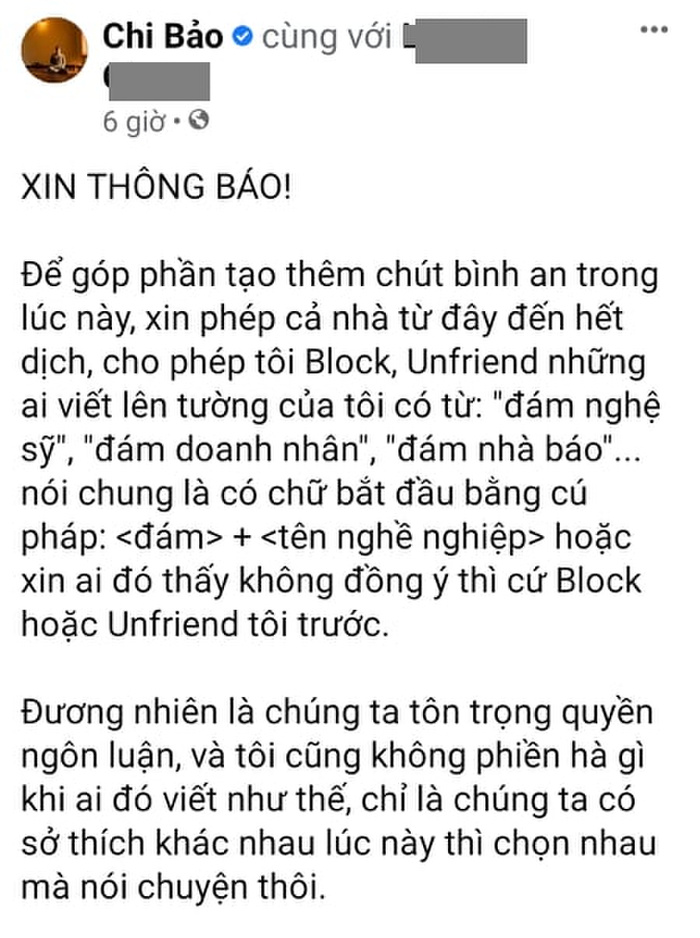 Nam diễn viên Chi Bảo tuyên bố sẽ làm điều này với những ai dùng từ 'đám nghệ sĩ'