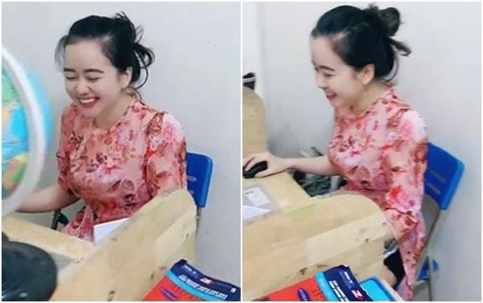 Cô giáo xinh đẹp bị 'bóc mẽ' trang phục khi dạy online khiến dân tình cười ngất Ảnh 1