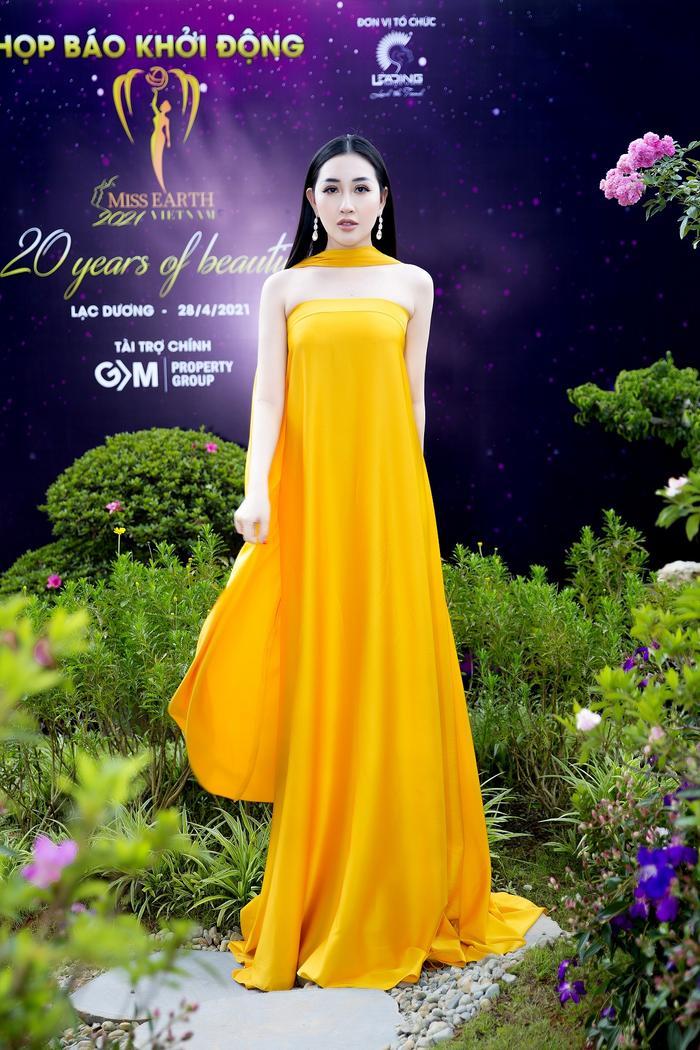 Hoa hậu Huỳnh Thuý Anh đẹp tỏa sáng tại họp báo Miss Earth Việt Nam 2021 Ảnh 3